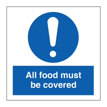 All food must be covered - Mandatory Signs