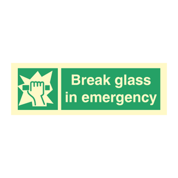 Break glass in emergency - Direction Signs