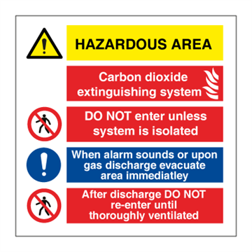 Hazardous area Carbon dioxide - Combination Signs
