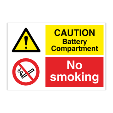 Caution Battery compartment - Combination Signs