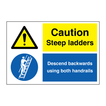 Caution - Steep ladders - combination signs