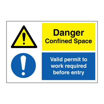 Danger confined space - Valid permit to work - combination signs