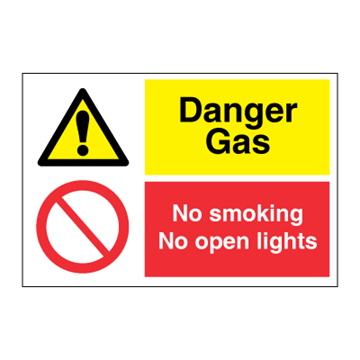 Danger Gas - No smoking og open lights - combination signs