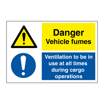 Danger Vehicle fumes - Combination Signs