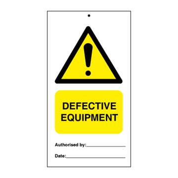 Defective equipment (packed in 10) - Tie Tags