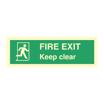 Fire exit keep clear - Direction Signs