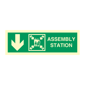 Assembly station arrow down - Direction Signs