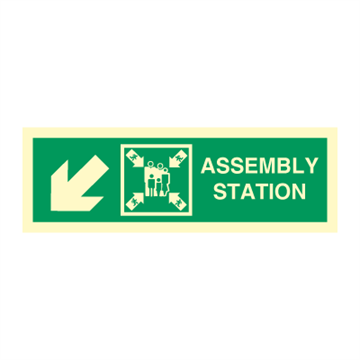 Assembly station arrow down to corner - Directions Signs