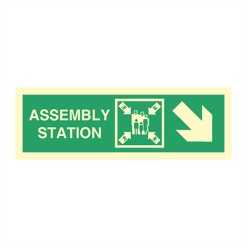 Assembly station arrow down to corner - Direction Signs