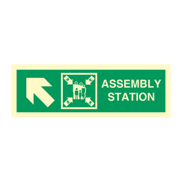 Assembly station arrow up to corner - Direction Signs