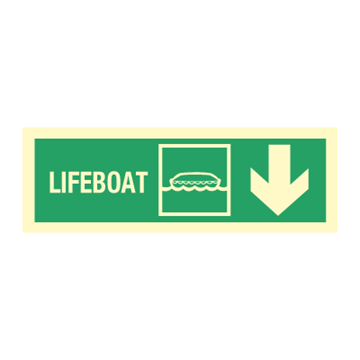 Lifeboat arrow down right - Direction Signs