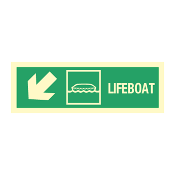 Lifeboat arrow  down left - Direction Signs