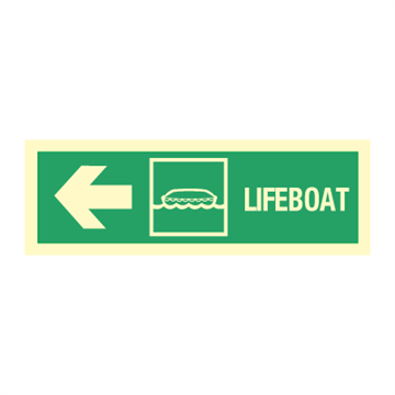 Lifeboat arrow  left - Direction Signs