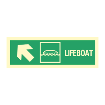 Lifeboat arrow up left - Direction Signs