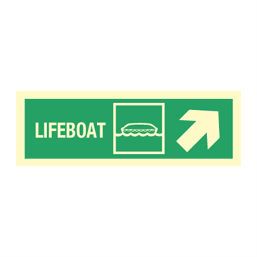 Lifeboat arrow  up right - Direction Signs