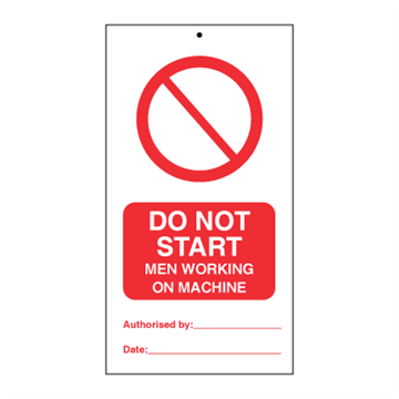 Do not start - men working on machine (packed in 10) - Tie Tags