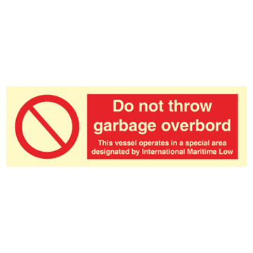 Do not throw garbage overboard - Prohibition Signs