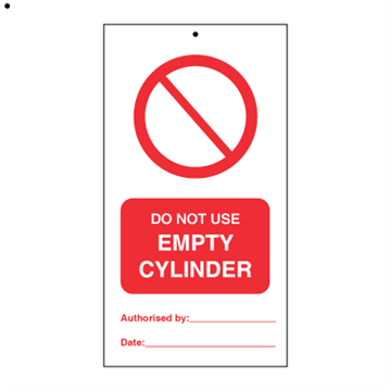 Do not use empty cylinder (packed in 10) - Tie Tags