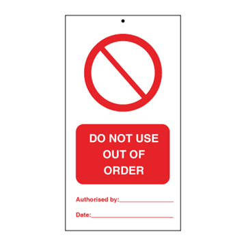 Do not use out of order (packed in 10) - Tie Tags