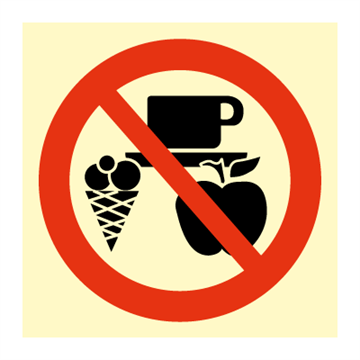 No eating or drinking in this area - Prohibition Signs