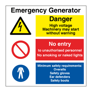 Emergency generator - Combination Signs