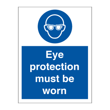Eyeprotection must be worn - Mandatory Signs