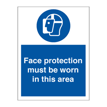 Face protection must be - Mandatory Signs