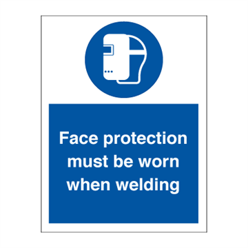 Face protection must be worn - Mandatory Signs