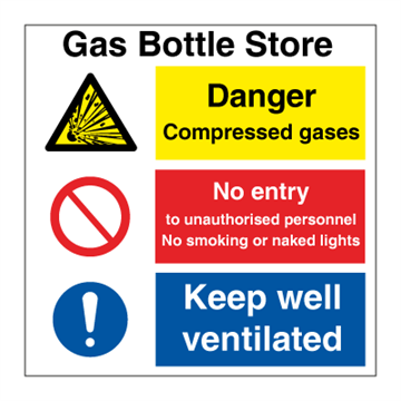 Gas bottle store - Combination Signs