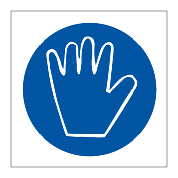 Hand protection must be worn - Mandatory Signs