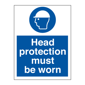 Head protection must be worn - Mandatory Signs