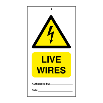 Danger live wires (packed in 10) - Tie Tags