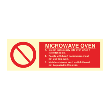 Microwave oven - Prohibition Signs