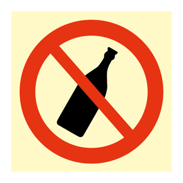 No bottle allowed - Prohibition Signs