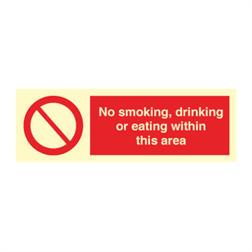 No smoking, drinking or eating - Prohibition Signs