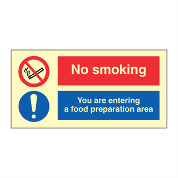 No smoking - You are entering food area - combination signs