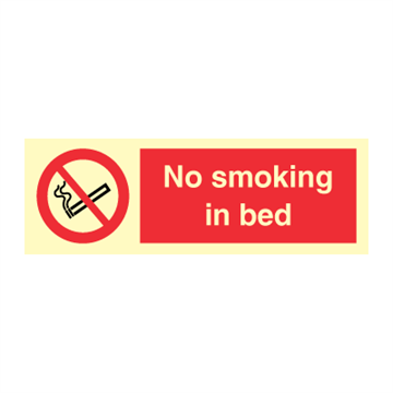 No smoking in bed - Prohibition Signs