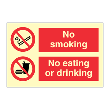 No smoking - No eating or drinking - combination signs