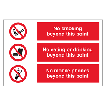 No smoking - No eating - No mobile phones - combination signs
