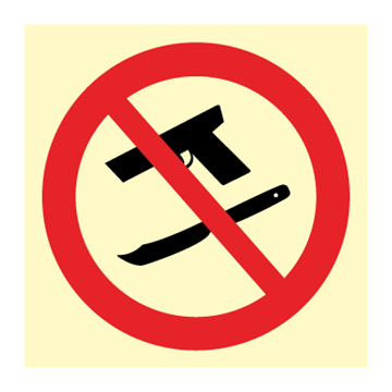 No weapons - Prohibition Signs