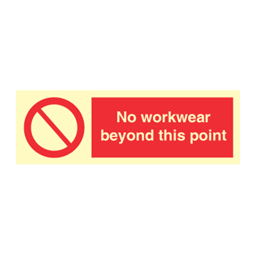 No workwear beyond this point - Prohibition Signs