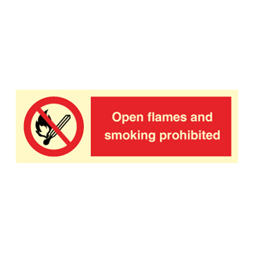 Open flames and smoking prohibited - Prohibition Signs