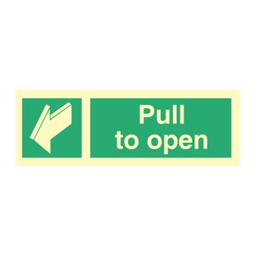Pull to open - direction signs