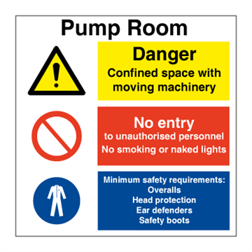 Pump room - Combination Signs