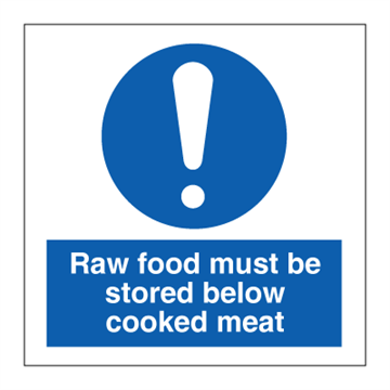 Raw food must be stored below cooked meat - Mandatory Signs