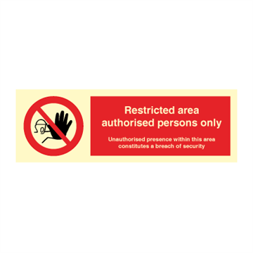 Restricted area authorised persons only - Prohibition Signs