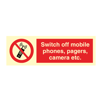 Switch off mobile phones, pagers - Prohibition Signs