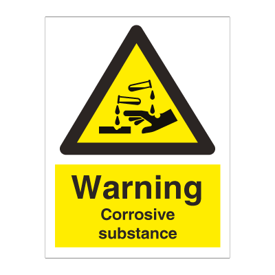 Danger Corrosive substance - Hazard & Warning Signs