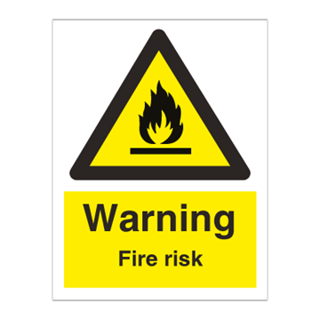 Danger fire risk - Hazard & Warning Signs