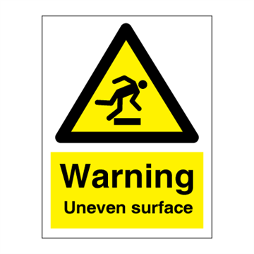 Warning Uneven surface - hazard signs